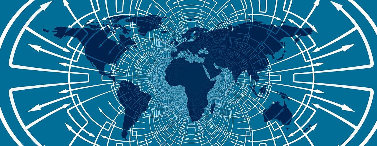 Mapa del mundo interconectado.